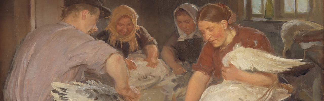 Udsnit af Anna Anchers maleri Julegæssene plukkes fra 1904. Foto: Statens Museum for Kunst