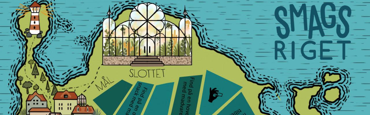 """Udsnit af spillepladen til """"Smagsriget"""", tegnet af Anna Skouw Nielsen."""