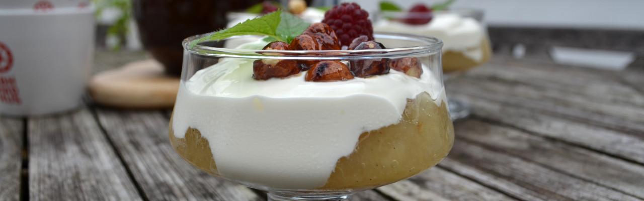 Sådan ser Ellens selvkomponerede æblekage ud. Hvordan ser jeres ud? Foto: Ellen Ravn Habekost