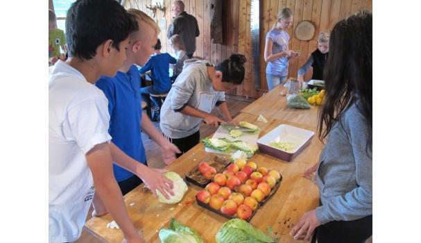 I Jagt- og Skovbrugsmuseets køkken er eleverne i gang med salaten til den vilde frokost. Foto: Anne Bech
